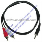 1m/3.3ft 3.5mm Male to 2 RCA Male Audio Extension Cable 1/8 Stereo Jack Dual