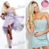 sweetheart heavy beaded diamonate on skirt Mini short natural waist Organza cocktail dress sexy 2012