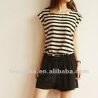 Summer korean short sleeve stripes damasks jumpsuit Hsj-011