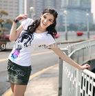 Goldman 100% Cotton Beaded fashion lady t-shirt(WTR005)