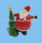 small ceramic christmas santa claus with tree home decor