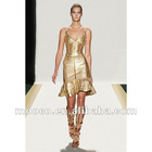 Designer front hollow gold bandage dress,falbala evening dresses woman