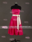 BM0868 Knee Length Shining Red Maid Of Honor Gorgeous Bridesmaid Dresses
