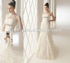 2013 hotsale fashionable and elegant lace a-line long sleeve wedding dress SYF-5407
