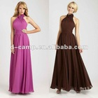 BD-090 Fancy halter neck long western bridesmaid dresses flowing chiffon