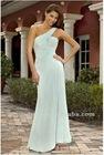 Charming A-Line One Shoulder Neckline Floor Length Chiffon Bridesmaid Dress BD084