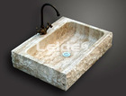 Beige travertine kitchen sink