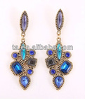 Gold Tone Metal Deco Dangle Statement Earrings Turquoise Acrylic Crystals Women