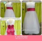Suzhou Cheap Flower Ribbon Waist Ball Gown Little Queen Flower Girls Dress Latest Children Dress Designs