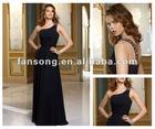 Sexy Black Chiffon One Shoulder Bridesmaid Dress