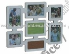 several openings Family wooden photo frame with cork