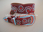 2012 best selling ladies PU fashion belt with Crystal