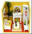diy wood house miniature,wood dollhouse,mini wooden doll house,wooden toy doll house