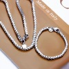925 EP Silver Classic 4MM Box-chain Necklace&Bracelet size 18/7.5