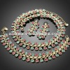 ARINNA Fuschia Blue Zircon Rhinestone Necklace Earrings Bracelet Set Crystal Jewelry Set G0286