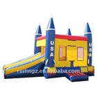 USA Theme Inflatable Castle combo for party or backyard,rocket combo