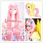 75CM-80CM long pink My Little Pony Fluttershy straight cosplay CW109