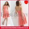 Hot sale chiffon tea-length halter peach bridesmaid dresses