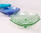 salad and fruit glass plate/hand made glass plate and platter set/leaf shape green glass palte/ kitchen gift glassware