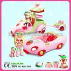 plastic car and motorcycle toy with strawberry doll