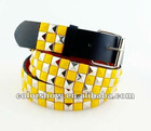 women fashion wide waist belts with yellow and silver pyramid studs