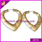 Bronze colour alloy heart shaped dangle earrings