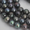 AN350 40cm 10-11mm natural long black pearl necklace jewelry