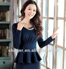 Elegant Pearl Decorated Long Sleeve Splicing Dress Deep Blue SW12092621-2