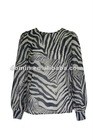 Hot selling longsleeve 100% polyester ,chiffon with zebra Lady's tops , Plus Size