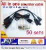 F01872-50 12 in 1 RC Simulator Cable,PHoenix RC 3.0/Reflex XTR/RealFlight G4.5 G5/AeroFly/FMS,9in1 Up, FUTABA JR TX +Freeship