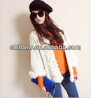 ek1410 New Korean Design Rabbit Fur Warm Women Elegent Knit Cardigan