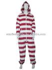 striped fleece jumpsuit adult