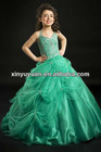 Fresh Green Halter Beaded A-line Prom Gown Party Dress PT-254