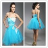 Strapless appliqued tulle cocktail dress hy343