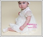 Wholesale short sleeve beauty appliqued baby girls dresses