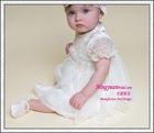 Wholesale short sleeve beauty appliqued baby girls dresses