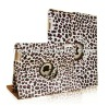 Stylish Leopard Purple 360 Degree Rotating Stand Smart Cover Leather Case for iPad 3