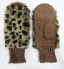 faux fur knitted mittens