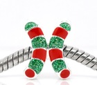 Christmas Candy Cane Beads Fit Charm Bracelet