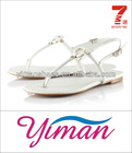 2013 fashion collection simple style white PU rubber sole woman sandal shoe