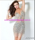 2012 Bestselling Sexy Spaghetti Srrap Beaded Organza Short Mini Cocktail Dresses