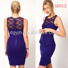 Bright Purple Lace Insert Sexy Peplum USA Evening Dress SD312