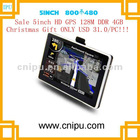 5 inch car gps navigation 128M DDR with 4GB flash memory inside