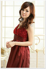 BF8110 La Vie en Rose blooming roses harness dress sexy red dress