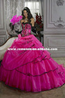 BG641 Fashion Beaded Embroidery Ruched Sweetheart Organza Girls Quinceanera Dress Prom Gown