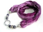 new hot selling fashion spring silk ceramic beads scarf necklace