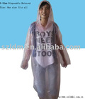 2012 Top sale 0.025mm disposable PE Raincoat,poncho,rain wear