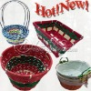 Colorfull Handicraft Natural Bamboo Basket with handle for Christmas use