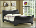 Wave 4ft6 Double Black Faux Leather Bed Frame 8017BK-3