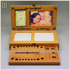 Wood baby gift item tooth holder with handprint and footprint photo frame